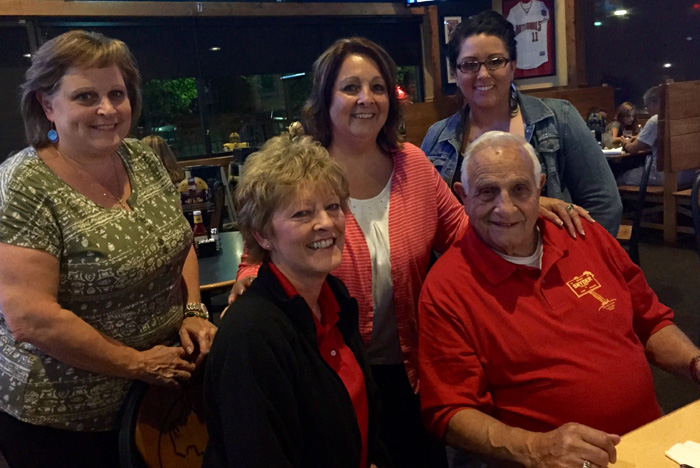BWW Marketing Manager Jenn Eckard, center, with Matt's Aunt Cathy, Mom Julie, Sister Tracie and Grandfather John Francis