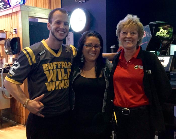 From left to right, Steve Barnett (Matt's good friend), Tracie (Matt's Sister) and Jenn Eckard, Marketing Manager Buffalo Wild Wings